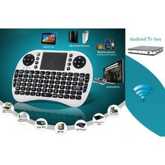 Wireless Keyboard, Game Controller and Touch Mouse Pad combo uses a QWERTY layout and comes with a dongle for connectivity to your PC or Android TV box. http://www.chinavasion.com/products_new.php