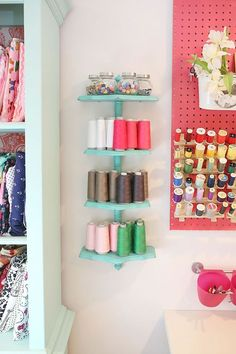 Sewing Fabric Storage The Sewing Room Reveal - Sewing Room Reveal Sewing Nook, Sewing Spaces, My Sewing Room, Sewing Studio, Thread Storage, Fabric Storage, Sewing Room Organization, Craft Room Storage, Storage Ideas