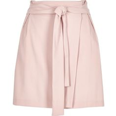 River Island Light pink waisted wrap skirt ($56) ❤ liked on Polyvore featuring skirts, mini skirts, pink, women, river island, short mini skirts, pink wrap skirt, pink skirt and tall skirts