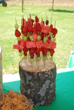 Fruit Kabobs...stuck down in a piece of wood...great idea for how to serve these...big hit!