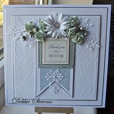 Hi everyone, A thank you card today, I made for a lady who held a workshop for me at her house, Items used are Spellbinders grand squares, Spellbinders frosty forms, Anna griffin embossing folder,...
