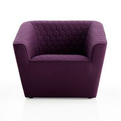 """<3 this plush, honeycomb-like, quilted purple armchair. This looks so cushy I just want to curl up in it and read a good book! This would be great in a """"tween's"""" room too."""