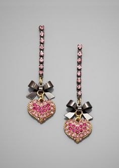 BETSEY JOHNSON Pave Heart and Bow Drop Earrings