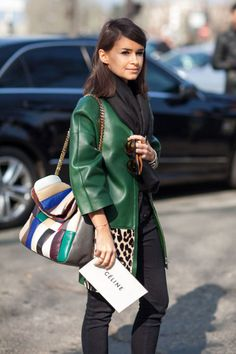 Miroslava Duma is cool in green Céline in route to the show.