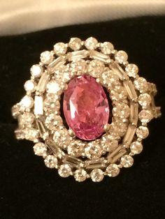 18K Gold 4 77 Ct RARE GIA Certified Vivid Padparadscha Sapphire Diamond Ring | eBay