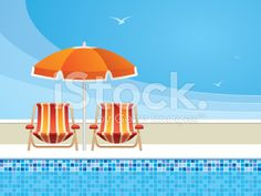 Poolside relaxation at the summer resort. Pool Chairs, Beach Umbrella, Free Vector Art, Smart Home, Digital Illustration, Pools, Royalty, Relax, Outdoor Decor