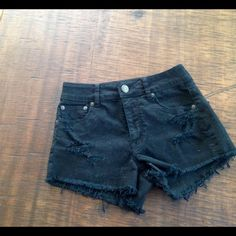 AE High Waisted Shorts Worn and washed ONCE, size 0, stretch material, black, fringed bottom American Eagle Outfitters Shorts