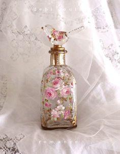 French Romantic Roses and Fleur-de-lis Perfume Bottle - Debi Coules Romantic Art