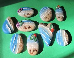 beach beads by jaelsjewels, via Flickr - these are soo cute!! polymer clay beads that looks like stones but with the beach on them!! Not to mention some awesome flower canes!