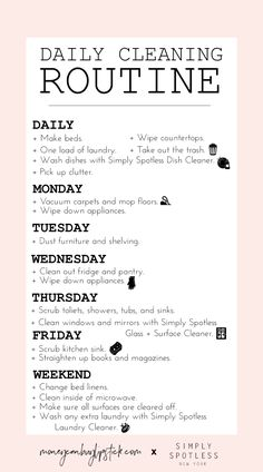 How To Create A Daily Cleaning Routine - Money Can Buy Lipstick - Cleaning Hacks Deep Cleaning Tips, House Cleaning Tips, Diy Cleaning Products, Spring Cleaning, Cleaning Hacks, Cleaning Routines, Cleaning Schedules, Weekly Cleaning, Diy Hacks