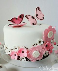 Pink butterfly and flowers cake
