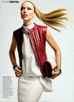 Sporty Leather Shoots  Raquel Zimmerman Stars in a Solo Editorial for Vogue US March 2012