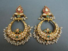 Chand Bali #gold #temple #rubies #polki #earrings