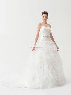 Ainsley - Robe de mariée sweetheart traîne moyenne avec plumes et jupe volante en tullle