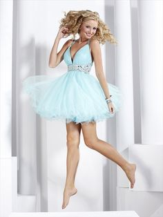 Fashion A-line Halter V-neck Empire Rhinestone Short Mini Organza Light Sky Blue Cocktail Dresses