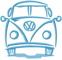 VW Volkswagen Bus free machine embroidery design #VW #VolkswagenBus #free #machine #embroiderydesign #onecolored #blue #stitches