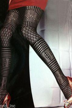 Patterned-Tights-Pothole-Stripe-Black-Hosiery-Lace-Pantyhose-Pattern-Ladies-Sexy