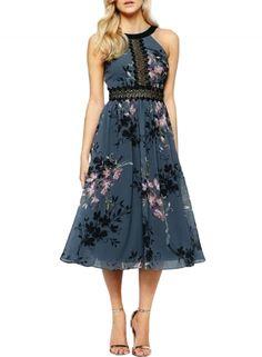 Women's Floral Print Lace Paneled Sleeveless Chiffon Dress