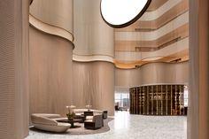 View photos of the contemporary Conrad Washington, DC hotel, offering luxury accommodations. Hotel Lobby Design, Lobby Interior, Interior Design, Interior Ideas, Modern Interior, Conrad Hotel, Lobby Reception, Reception Counter, Public Hotel
