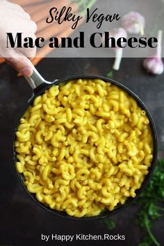 Silky and cheesy Vegan Mac and Cheese: Delicious vegan take on an ultimate comfort food classic. Packed with veggies and plant-based protein, this easy 30-minute vegan mac 'n' cheese recipe will become your family favorite! Vegan Dinner Recipes, Vegan Recipes Easy, Crockpot Recipes, Whole Food Recipes, Vegetarian Recipes, Vegan Vegetarian, Vegan Mac And Cheese, Happy Kitchen, Pinterest Recipes