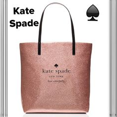 """NWT Kate Spade  """"Holiday Drive Bon Shopper"""" Only Kate Spade!!!  Holiday Drive Bon Shopper. Beautiful Rose Gold Sparkle Patent PVC. Dual shoulder straps w/8.5"""" drop. 14-kt light gold plated hardware. Interior has the signature kate spade new york printed fabric. Dual interior slide pockets. Measures 13.5x12.5""""x5"""".  Priced to sell!!!  Bundle with the Holiday Drive"""" pouch and save $$$ kate spade Bags Totes"""