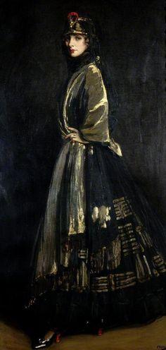 Hazel in Black and Gold 1916, Sir John Lavery      Sir John Lavery (1856-1941) Hazel in Black and Gold, 1916 (the light and darkness)