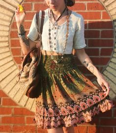 Boho setup. bohemian style Indie Outfits, Retro Outfits, Boho Outfits, Vintage Outfits, Cute Outfits, Fashion Outfits, Hippie Chic Outfits, Hippie Style Clothing, Formal Outfits