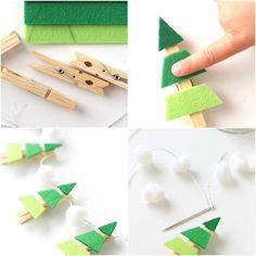 activité-noel-maternelle-a-faire-soi-meme-guirlande-simple-pince-a-linge-décoré-de-feutrine-pour-créer-des-sapins-de-noel-et-boules-de-coton-blanc