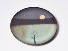 Gold moon & winter tree side plate by JuliaSmithCeramics on Etsy