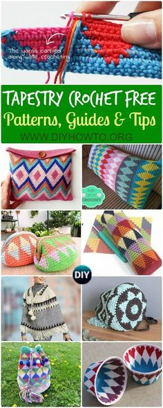 Collection of Tapestry Crochet Free Patterns: Wayuu Mochila Crochet Bags, Purses, Pillows, Tips and Free Patterns. via @diyhowto