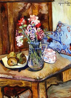 Suzanne Valadon - A Corner of the Table with Flowers and Fruit, 1926