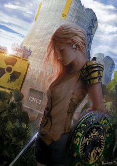 Okay, I'm just posting this because I really like it. So dystopian that she's carrying a Starbucks shield. I love it.