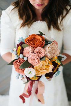 bride's handmade wool felt flower bouquet // custom bouquet // succulent bouquet // please read carefully before purchase!