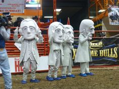 Mount Rushmore Mascots at Xtreme Bulls for the Black Hills Stock Show and Rodeo! #BHStockShow - watch the rodeo on GAC, Feb. 10, 2013!!