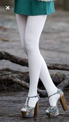 Gorgeous hot legs in white stockings,,+(Strap Around The Ankel High Heeled Shoes) ! Colored Tights Outfit, Blue Tights, Wool Tights, White Tights, Pantyhose Outfits, Pantyhose Heels, Nylons, Cute Stockings, Stockings And Suspenders