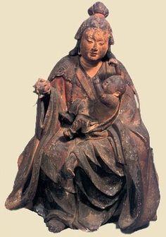 Japón. Diosa Kariteimo, tambien llamada Kishimojin, sosteniendo una granada y un niño, diosa budista de la fertilidad y el parto , protectora de los niños. Era Kamakura e. 13 C. Madera , tesoro de Onjoji Templo , Japón. http://www.shiga-miidera.or.jp/treasure/bi/04.htm.