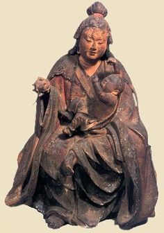 Kariteimo holding a pomegranate and a child, buddhist goddess of fertility and childbirth, protector of children. Kamakura Era  e. 13th C. Painted Wood,  Treasure of Onjōji Temple, Japan.