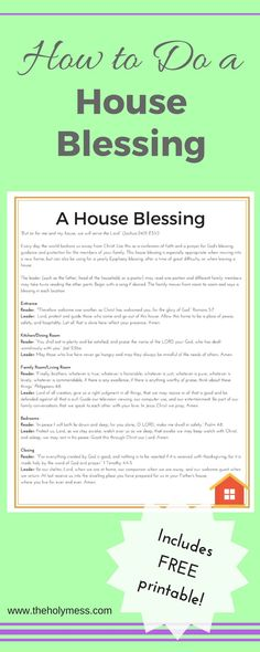 How to Do a House Blessing|House Blessing|New House|New Baby|Free Printable|Directions|Blessings|Prayer