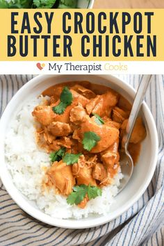 Indian butter chicken in a slow cooker! This super delicious crock pot chicken curry has just 10 ingredients and no searing or extra chopping. The end result is luscious, creamy, delicious butter chicken with hardly any effort. Butter Chicken Recipe Crockpot, Easy Chicken Recipes, Healthy Weeknight Dinners, Quick Meals, Gluten Free Recipes For Dinner, Easy Dinner Recipes, Indian Butter Chicken, Easy Family Meals, Curry Recipes