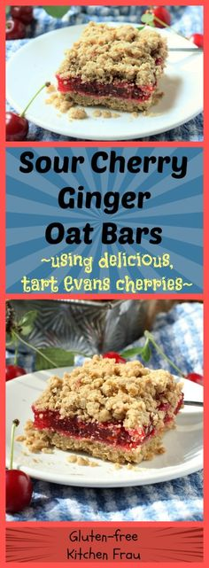 Evans Cherry Ginger Oat Crumble Bar - tart and tasty sour cherry filling peeking out between buttery oat crumbles.