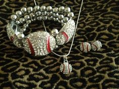 Baseball Necklace Earrings & Stretch Bracelet Rhinestone Bling MOM