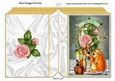 Candlelight supper with cute pair of dogs  with pink roses folded book on Craftsuprint - View Now!
