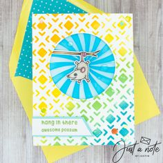 This set uses the Hang In There set, Swirl stencil and Tiles stencil by Kindred Stamps. Check out my blog for more details!