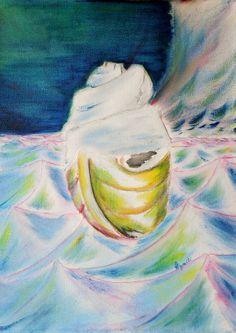 Gemälde Oel handgemalt Landschaft Ozean Abstrakt modern Leinwand Hajewski gelb