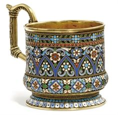 MARK OF PAVEL OVCHINNIKOV, '88' STANDARD, MOSCOW, 1894 Silver Enamel, Antique Silver, Hand Painted Dishes, Bronze, Glass Holders, Russian Art, Oriental, Glass Art, Pottery