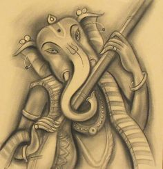 Mix Media On Paper And Charcoal On Paper By Indian Artist Ramesh Pachpande Ganesha Painting, Ganesha Art, Indian Contemporary Art, Shri Mataji, Sri Ganesh, Indian Artist, Charcoal Drawing, Deities, Art Forms