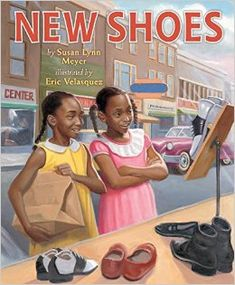 """""""New Shoes"""" by Susan Lynn Meyer is a picture book that shows 'lite' racism during segregation: blacks were not allowed to try on shoes. Ella Mae and Charlotte 'solve the problem' at the end. Pros: Strong black female characters. Actual depiction of racism, unlike most books for this age. Cons: It's set in the past, doesn't discuss racism now.  The problem is 'solved' at the end of the book. Notes: Uses the word negro, which will be difficult for some parents to read aloud."""