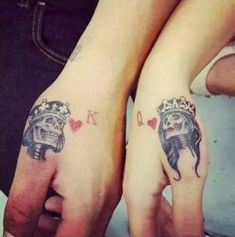 Cute king and queen tattoo for couples0361