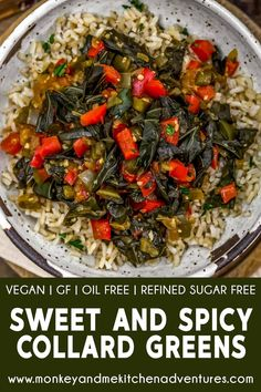 Whole Food Recipes, Vegan Recipes, Dinner Recipes, Collard Greens Recipe, Vegan Party Food, Summer Dishes, Stuffed Jalapeno Peppers, Sweet And Spicy, Plant Based Diet