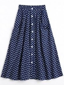 share and earn a gift! Button Up Polka Dot Skirt with Pockets